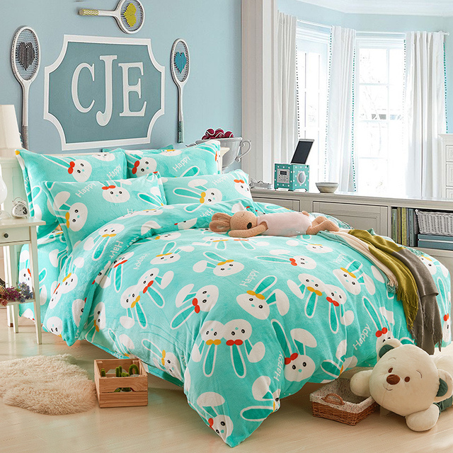 Kids Bedding Set Anime Bed Sheets Blue Comforters And Quilts Rabbit Bed  Sheets Girls Bed Linen