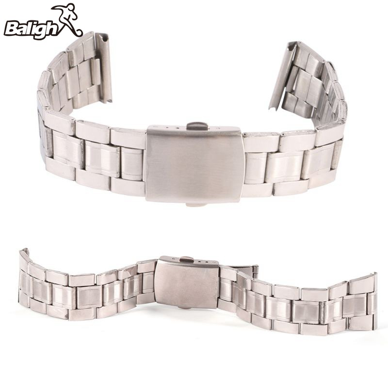 /est / Stainless Steel Watchband Link Bracelet Stainless Steel Width18mm /20mm /22mm Plane Clasp Button Watch Strap Lug