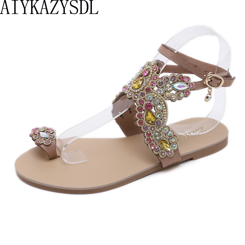 AIYKAZYSDL Women Flats Rhinestone Crystal Sandals Flat Heels Luxury Wedding  Bridesmaid Shoes Ring Toe Bohemia Ethnic 14a577279296