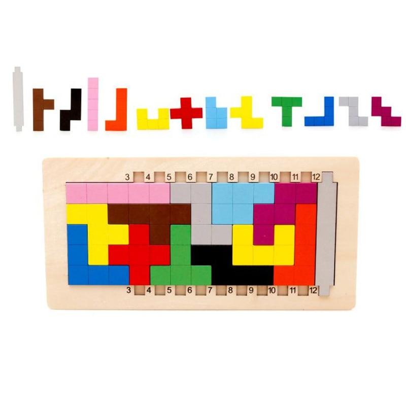 Colorido Jogo Tangram De Madeira Cérebro Teaser de Puzzle Brinquedos Do Bebê Preschool Magination Cedo Educacional Crianças Toy Presente Das Crianças