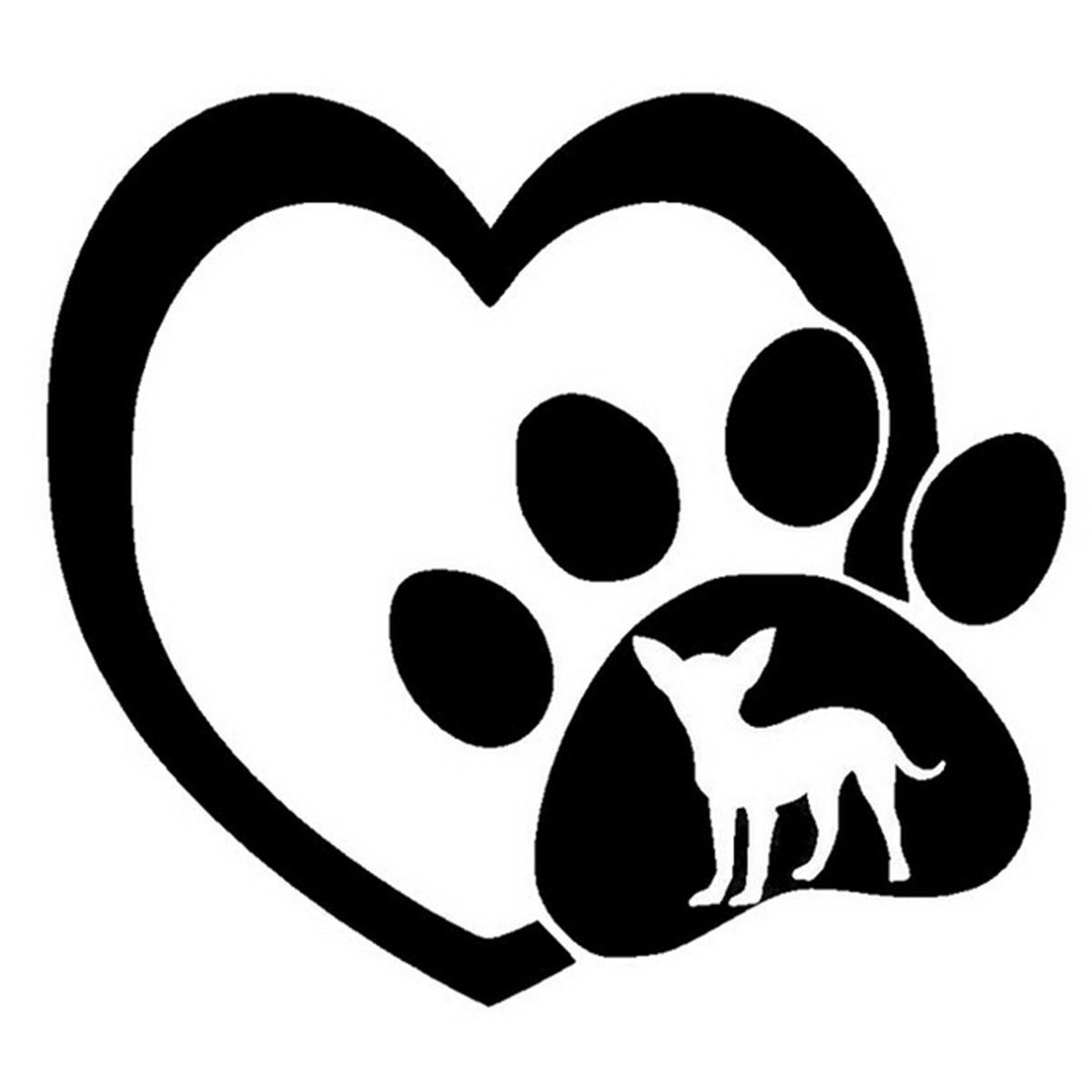 Download Chihuahua Love Heart Paw Funny Dog Stickers Car Window ...