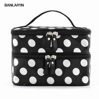 WholeTide 10*AUAU Black Polka Dots Travel Cosmetics MakeUp Bags Beauty Organiser Toiletry Purse