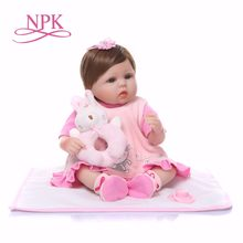 "Bebes reborn NPK dolls reborn babies 18""40cm silicone reborn baby doll pink girl newborn dolls with rabbit plush gifts(China)"