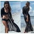 De alta Calidad de Encaje Beach cover up vestido de long Beach Para Mujer túnica vestido Saida de Praia playa Pareo traje de Baño vestido Cover up Beach