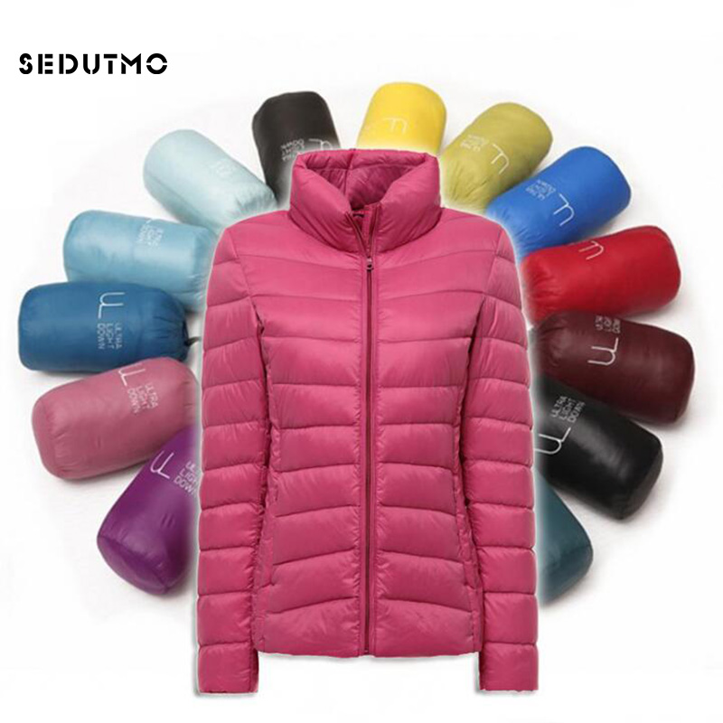 SEDUTMO 2018 Winter Ultra Light Duck   Down   Jackets Womens Short Warm   Coat   Thin Spring Puffer Jacket ED117