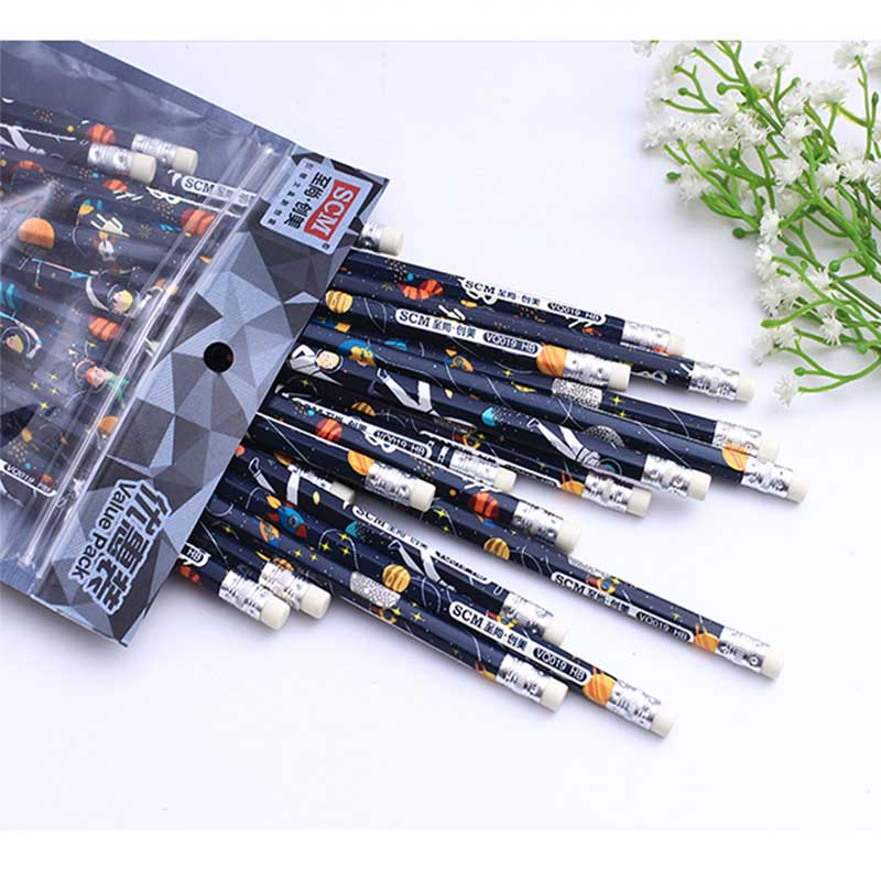 30pcs Beautiful Star Wooden Pencil with Eraser Primary School Safty Hexagon Pencil Student Painting Drawing HB Stationery Gifts