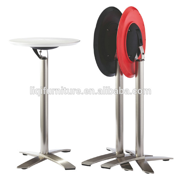 fashion modern outdoor folded ABS top brushed aluminum high cocktail table bar table LQ- BT308 цена