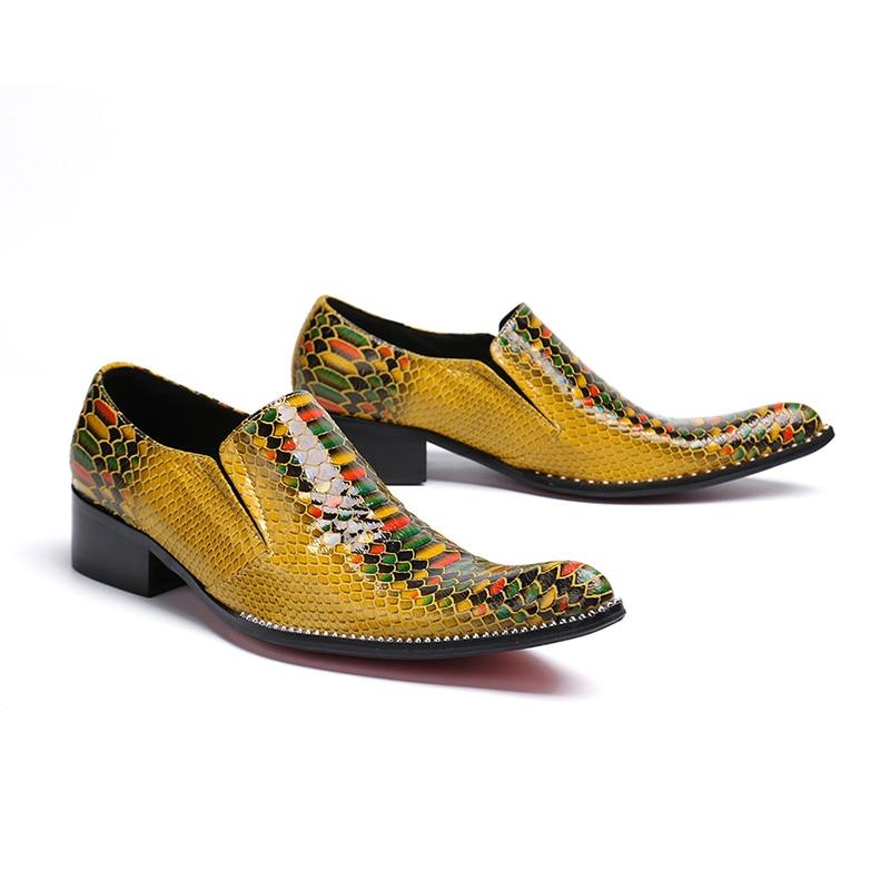 Richelieus Chaussures Cuir Slip De D'affaires Pointu Talon on En Faible Formelle Véritable Robe Hommes Bout Bureau Jaune Nouveau Mode À nwFqxIB1