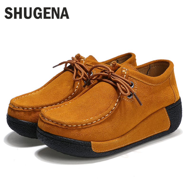 A SHUGENA New Arrivals genuine leather Solid Plain Round Toe Lace Up Sporting Thick Platform Pumps Women Fashion Casual Shoes