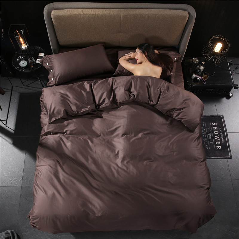 Solid Color Modern Minimalist Style Comfortable 60S Cotton Fabric Bedding Set Duvet Cover Bed Linen Bed sheet Pillowcases 4PCS