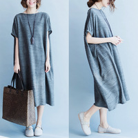 Summer new Korean fashion long section loose and comfortable short-sleeved t -shirt dress fat MM180 pounds