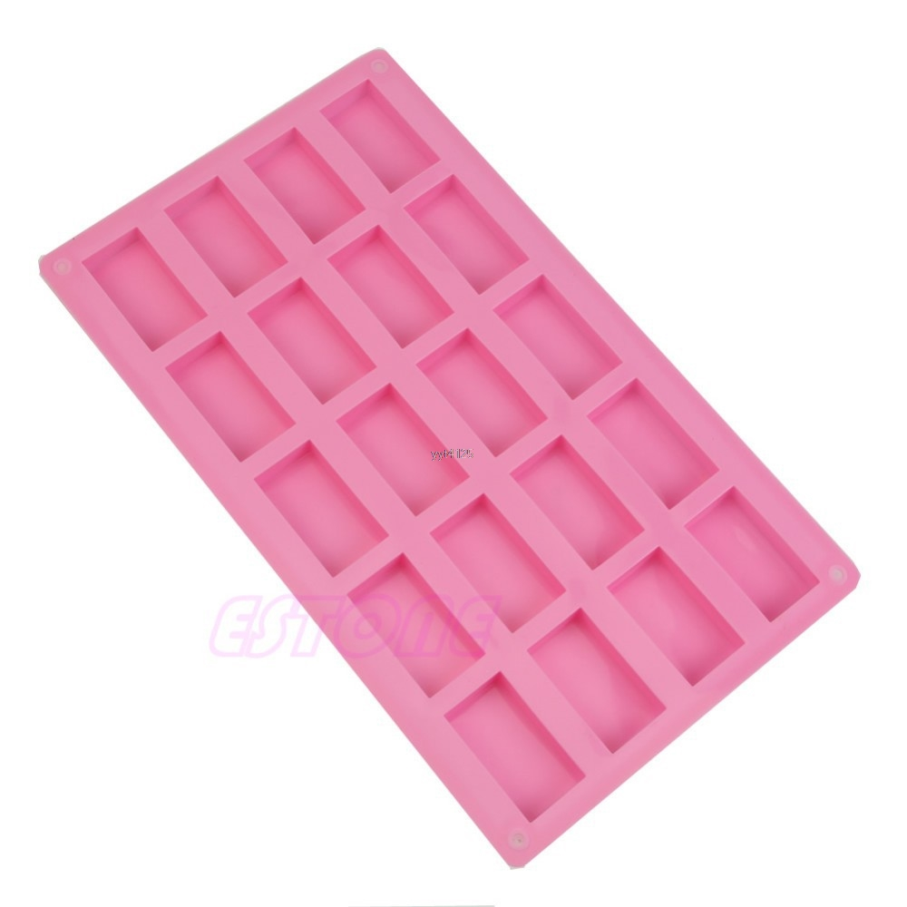 20-Cavity Plain Rectangle Soap Silicone Mold Fondant Cake Decorating Tools Ice Chocolate Rectangle Mould Tray for Homemad Mar