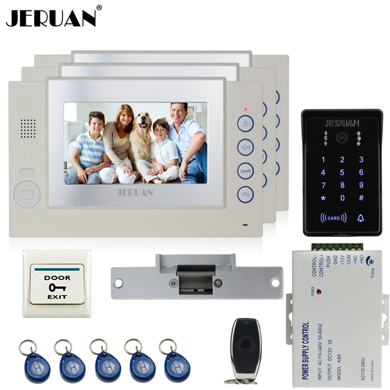 JERUAN 7`` LCD video door phone Record intercom system Kit 3 monitor New waterproof Touch Key password keypad Camera 8G SD Card jeruan 7 lcd video door phone record intercom system 3 monitor new rfid waterproof touch key password keypad camera 8g sd card