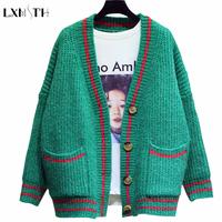 2019 Spring Fashion Korea Female Sweaters Cardigans for Women Pocket Loose Sweater Coat Thick Full Sleeve Single Breasted Green