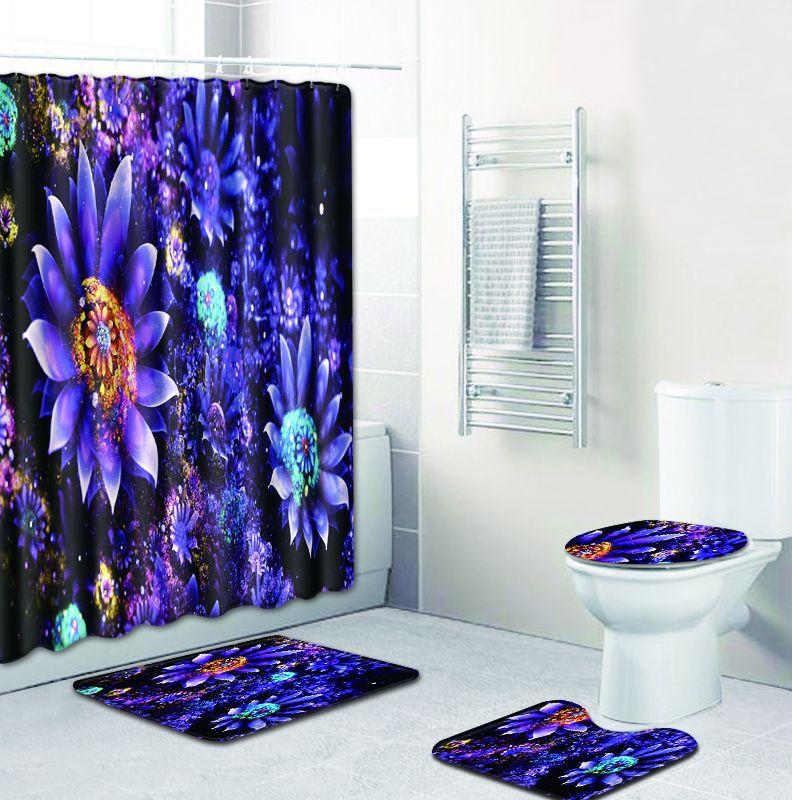 Fleur impression rideau de douche Floormat imperméable Polyester tissu moderne mode écran de bain toilette siège couverture Pad tapis de bain maison