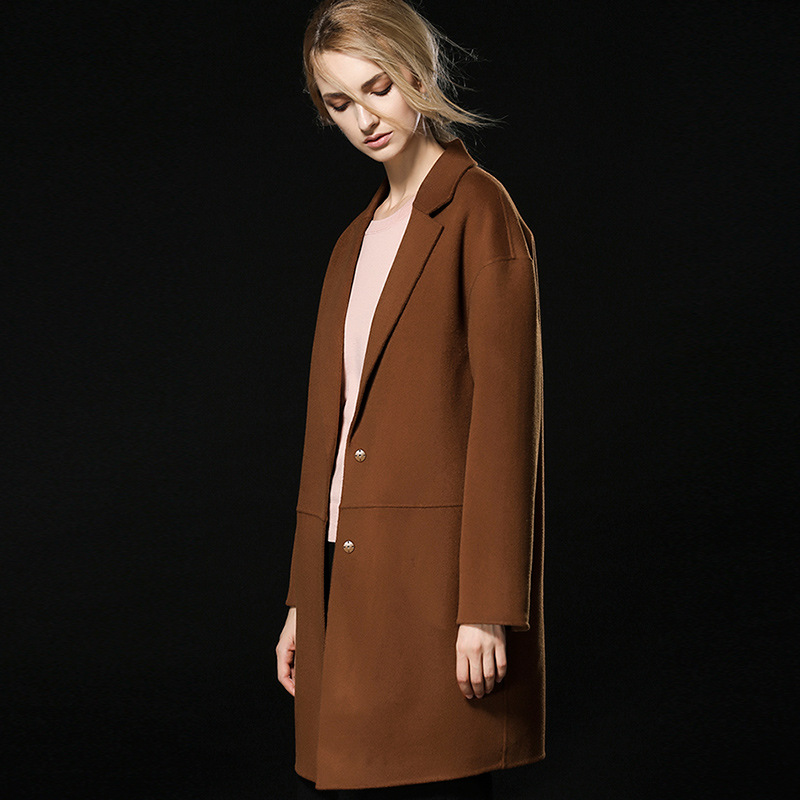 En Color Neuf Cachemire Type Laine La Femelle Dans Double Européenne Section Hiver Qualité À Manteau Cocon Pink Haute De caramel Face Longue 0wd08qx1