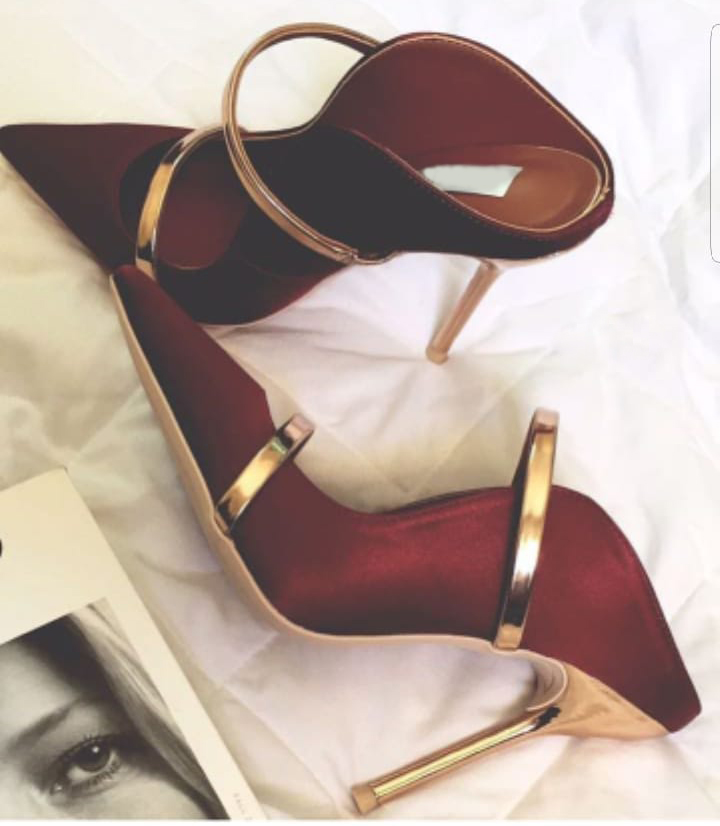 Celebrity Popular Burgundy Satin Cloth Fabric Pointed Toe High Heel Pumps Gold Heels Straps Shallow Cut Stiletto Heel Slippers ...