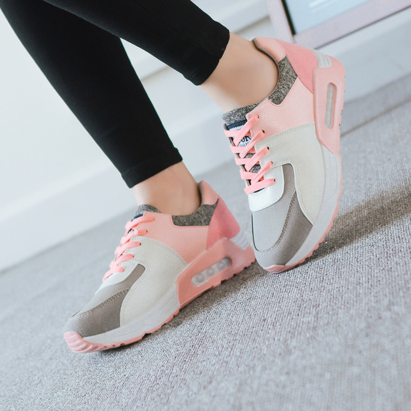 Woman Breathable Mesh Lace-up Ladies Outdoor Walking Shose Lazy Shoe Autumn Summer Pink  ...