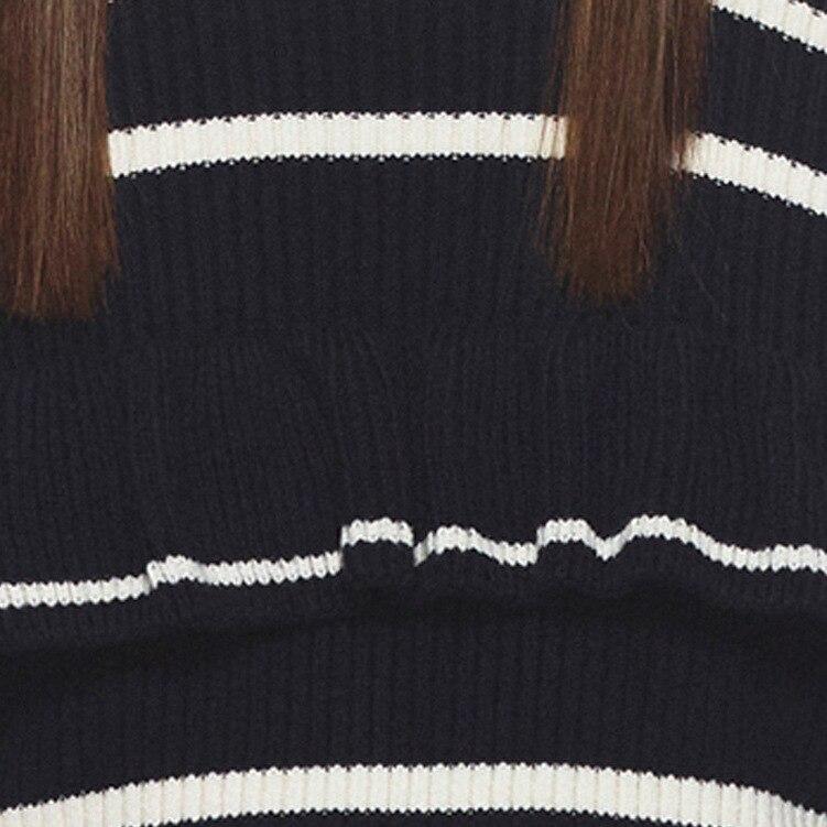 Autoportrait élégant Slim tricoté rayé chandail Blouse femmes 2018 automne hiver chaud hors épaule pull femmes - 5