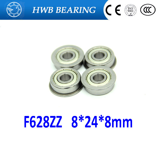 10Pcs F628-2Z F628ZZ  F628 zz Flanged Flange Deep Groove Ball Bearings 8 x 24 x 8mm Free shipping for 3D printer free shipping 10 pcs mf74zz flanged bearings 4x7x2 5 mm flange ball bearings lf 740zz