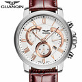 Genuine GUANQIN Luxury Brand Fashion Business Quartz Watches Men 30M Life Waterproof Clock Leather Strap Complete Calendar
