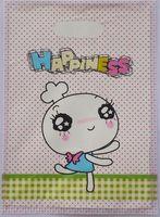 2015 Hot-venda 100 pcs 35*25 cm Multicolor coelho Feliz Bonito Saco de Compras Cabo de Plástico Para Presentes atacado 015035071
