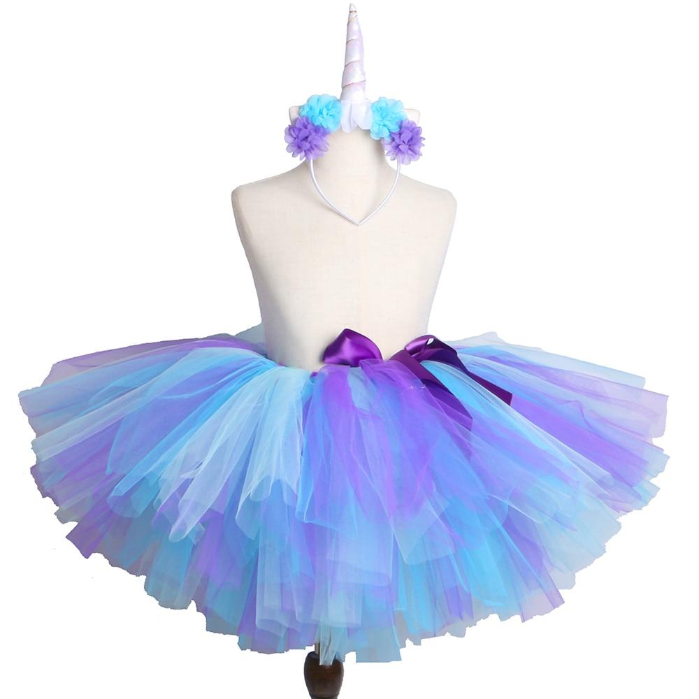 08422556d Falda tutú de unicornio con diadema falda de tul mullida para niños niñas  fiesta de cumpleaños ...