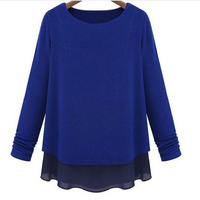Casual women patchwork kawaii t shirt plus size 5xl top tees long sleeve Round collar women fashion clothes black and blue T
