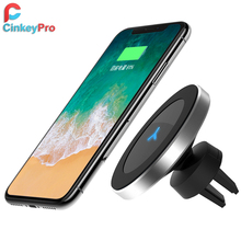 CinkeyPro QI Wireless Car Charger Magnetic Holder for for iPhone 8 10 X Samsung S6 S7 S8 Air Vent Mount Stand 5V/1A Charging