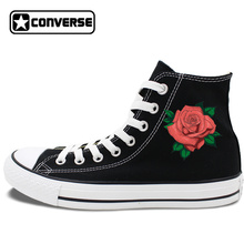 Womens Gifts Original Converse All Star Skateboarding Shoes Design Red Rose Flower White Black Canvas Sneakers High Tops JH07