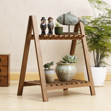 Two-storey Simple White Flower Frame Plant  Shelf with Solid Wood Double Outdoor Balcony Corner Shelf