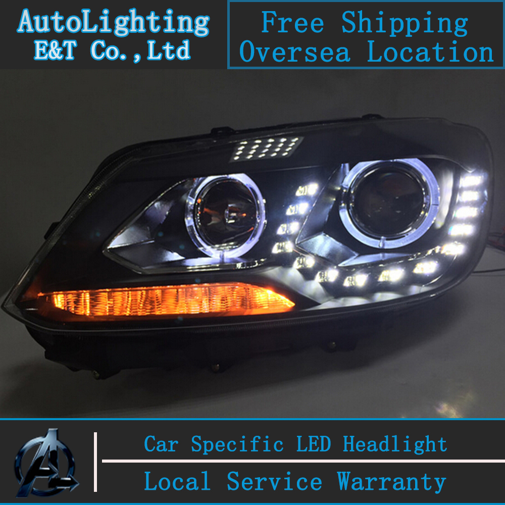 Car Styling VW Touran headlights 2011-2014 led headlight Volks Wagen drl H7 hid Bi-Xenon Lens low beam