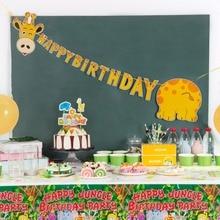 Giraffe Birthday Banner Happy Bunting Baby Boy Safari Jungle Animal Kids 1st Party Supplies