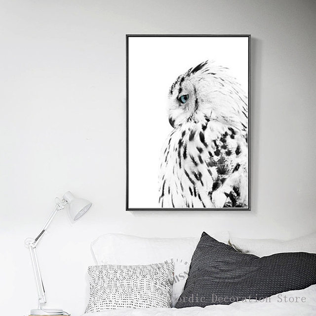 Nordic Forest Poster Black And White Owl Wall Art Canvas Painting Art  Posters And Prints Wall Pictures For Living Room Unframed