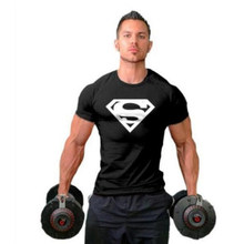 Workout Clothes Cotton Superman Gyms T Shirts Plus size XS-2XL Mens T-shirt Muscle Gyms Fitness Clothing Bodybuilding Tops(China)