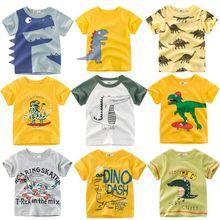 Loozykit/Одежда для детей; футболка для мальчиков; хлопковая Футболка с рукавами «динозавр»; Милая Повседневная футболка для мальчиков; От 2 до 10 лет футболка