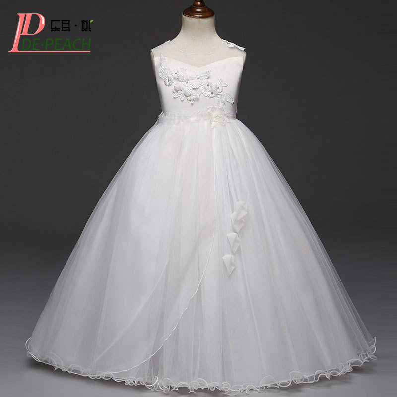 DE PEACH Big Girls Flower Wedding Dresses Princess Lace tutu Party Dress Kids Girl Teenage Formal Clothes Children Long Vestidos autumn girls children s kids baby long sleeve lace mesh tutu patchwork basic dresses princess wedding party dress vestidos s5691