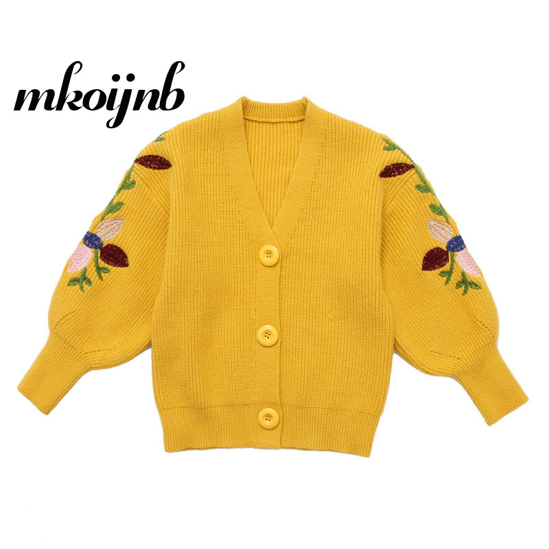 Girl Cardigan Sweater 2018 Autumn Winter Children's Clothing Knit Sweater Girl Embroidered Knitted Flowers Coat Sweater 4-12year twist back crop chunky knit sweater