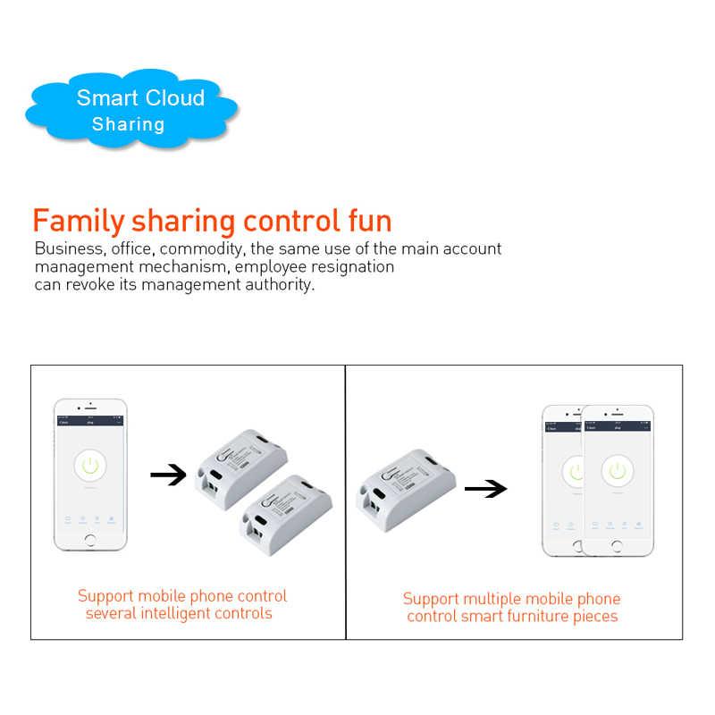 QIACHIP WiFi interruptor de luz inteligente inalámbrico 433 MHz 10A 2200 W 1 CH módulo receptor RF + 433 Mhz RF interruptor de Control remoto del transmisor