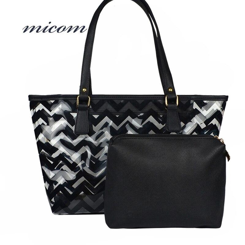 Micom Fashion Semi-Transparent Black Pink Striped Beach Tote Bag For Women Chevron Clear Waterproof Handbag For Lady Shopper Bag missoni for target travel tote colore chevron pattern