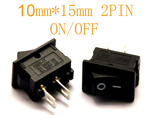 5pcs 10*15 Mini Boat Switch Black AC 3A 250V 2 Pin ON/OFF I/O SPST Snap Small Rocker Switch