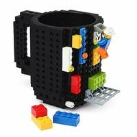 1Pc 12oz Build-On Brick Mug Type Building Blocks Coffee Cup DIY Block Puzzle Mug Portable Drinkware Drinking Mug 4 Colors 1