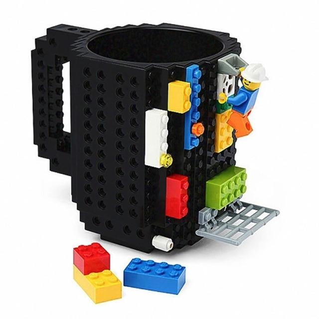 1Pc 12oz Build-On Brick Mug Type Building Blocks Coffee Cup DIY Block Puzzle Mug Portable Drinkware Drinking Mug 4 Colors 2