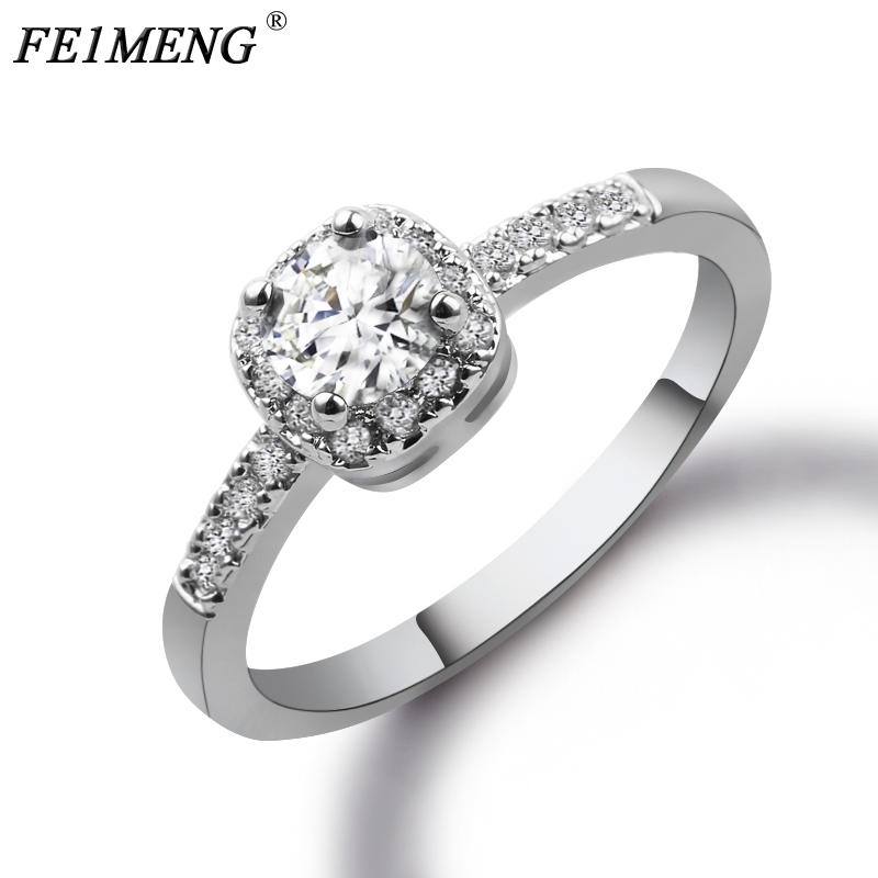 White CZ Round Zircon Rings for Women Silver Color Copper Ring Jewelry Promise Engagemen ...