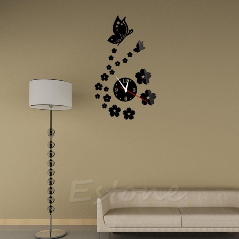 moda estilo mariposa de acrlico del espejo d reloj de pared etiqueta engomada diy diseo moderno