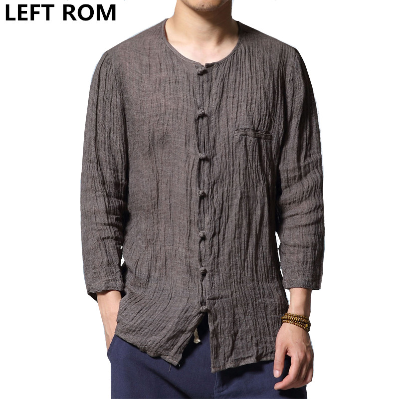LEFT ROM 2018 fashion male summer slim Fit Casual linen 7 minutes of sleeve shirts/men's Thin section Cotton linen shirts S-4XL