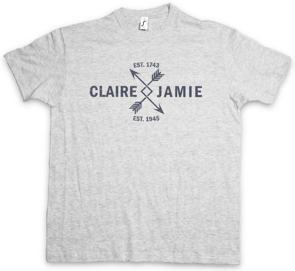 CLAIRE & JAMIE T-SHIRT Outlander Scots Scotland Fraser Randall Love Arrow Simple Style ...