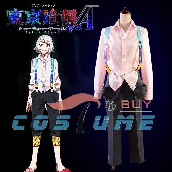 Tokyo Ghoul CCG Juzo Suzuya Uniform Pink Long Sleeve font b Shirt b font Black Pant