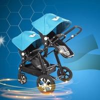 Twin коляска детская коляска для двойни коляски для новорожденных узор коляска Близнецы легкий двойной коляски Алюминий сплава рама