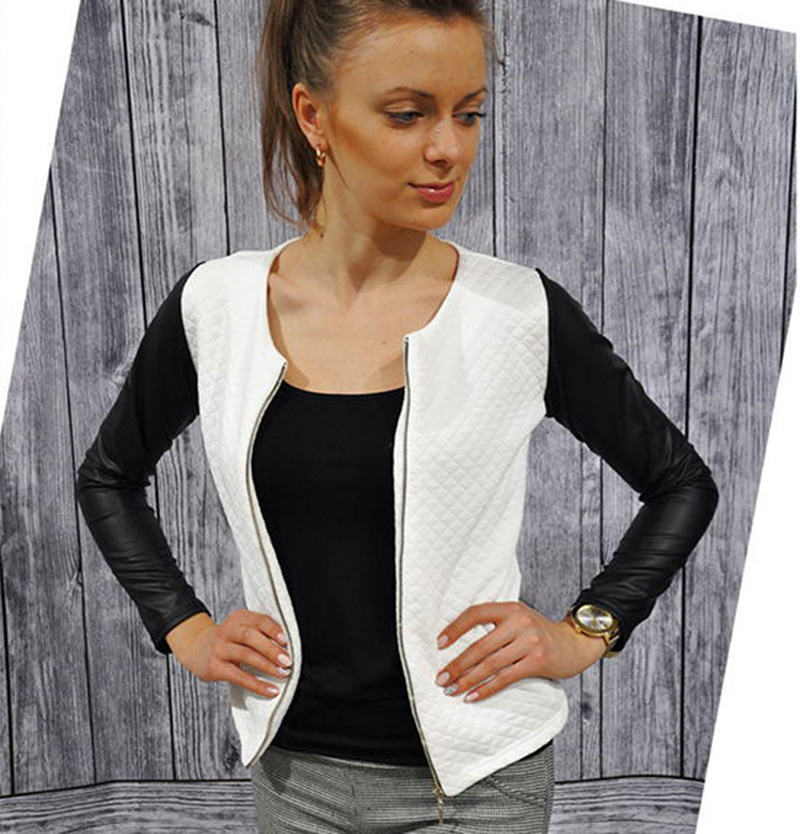 New Women Slim PU Leather Casual Zip Long Sleeve Chic Stylish Top Blouse Outwear Parka Coat Jacket European skinny girls Jackets